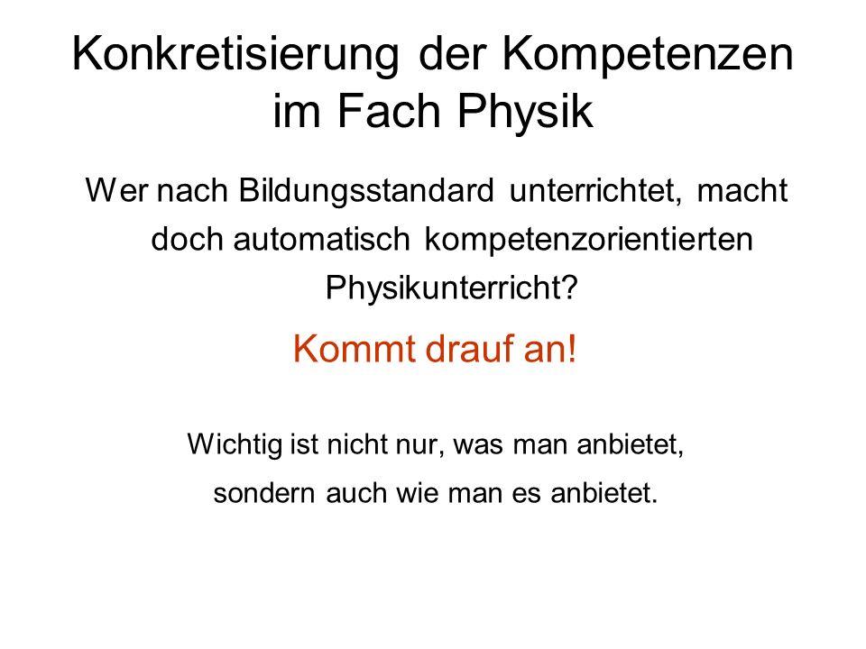 Konkretisierung der Kompetenzen im Fach Physik