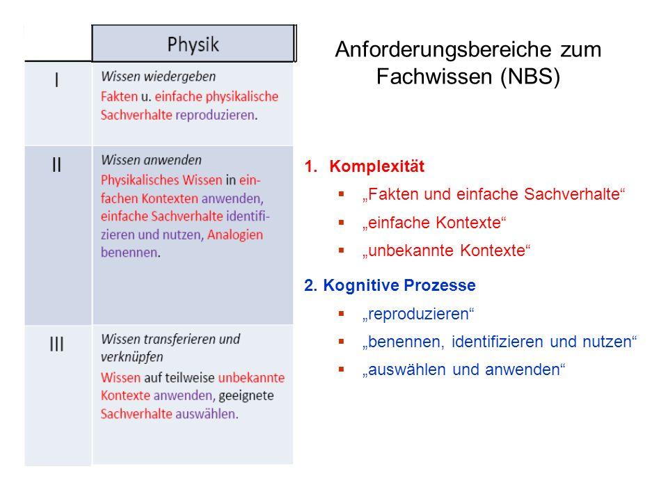 Anforderungsbereiche zum Fachwissen (NBS)