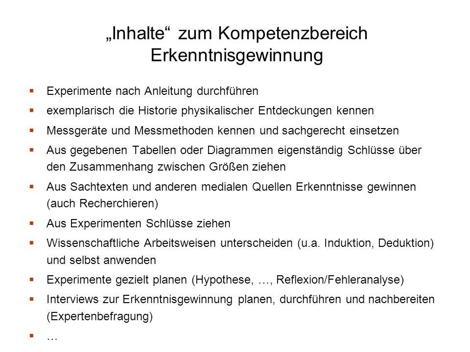 """""""Inhalte zum Kompetenzbereich Erkenntnisgewinnung"""