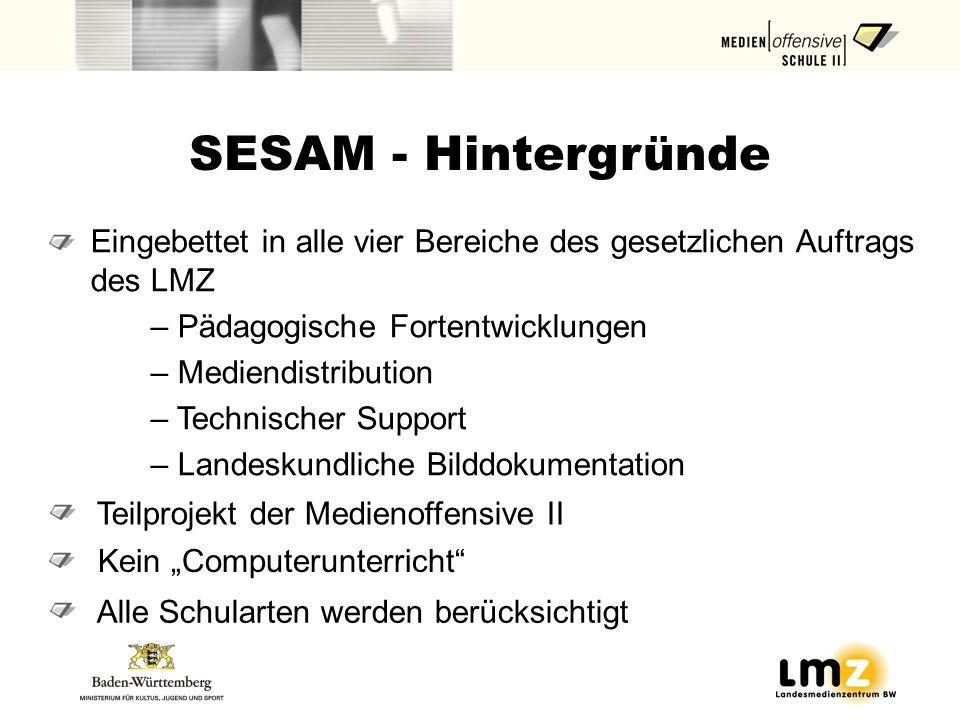 SESAM - Hintergründe Eingebettet in alle vier Bereiche des gesetzlichen Auftrags des LMZ. Pädagogische Fortentwicklungen.