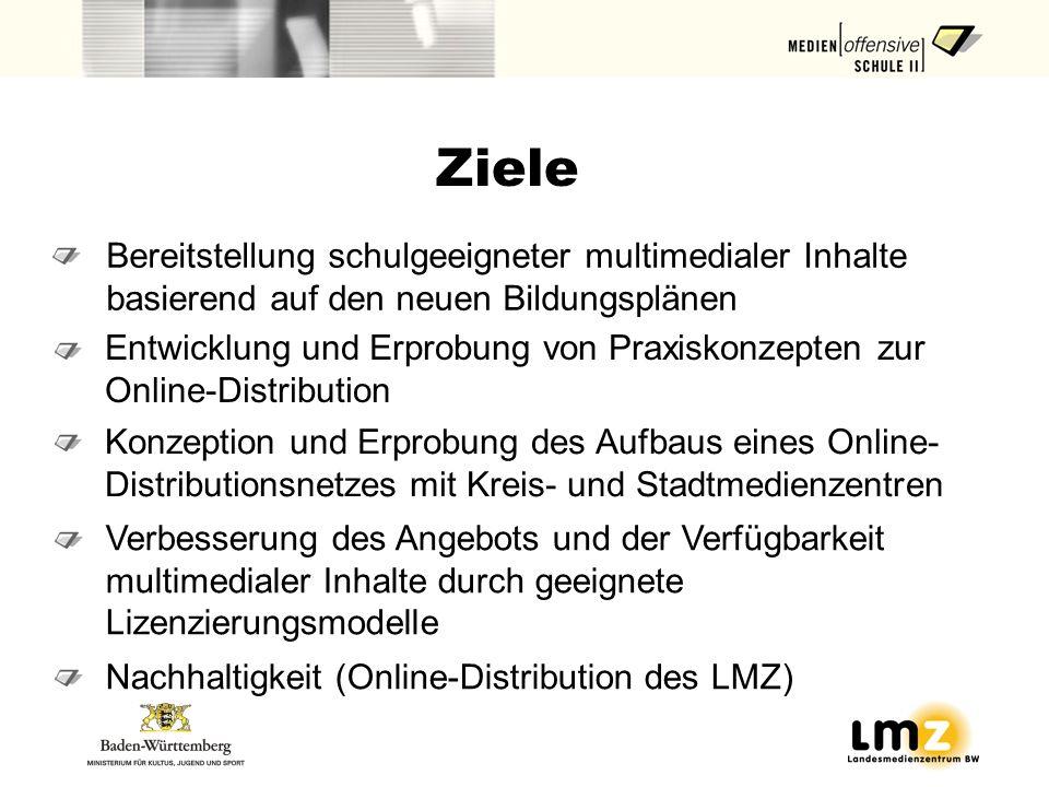Ziele Bereitstellung schulgeeigneter multimedialer Inhalte