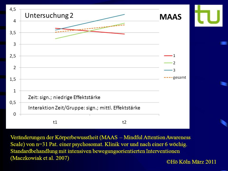 MAAS Untersuchung 2 Zeit: sign.; niedrige Effektstärke