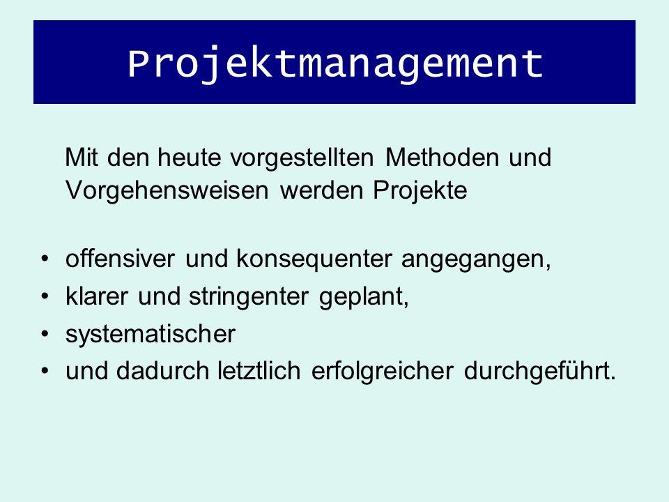 Projektmanagement Mit den heute vorgestellten Methoden und Vorgehensweisen werden Projekte. offensiver und konsequenter angegangen,