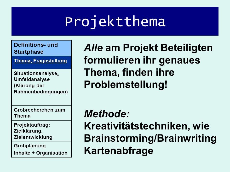 ProjektthemaDefinitions- und Startphase. Thema, Fragestellung. Situationsanalyse, Umfeldanalyse (Klärung der Rahmenbedingungen)