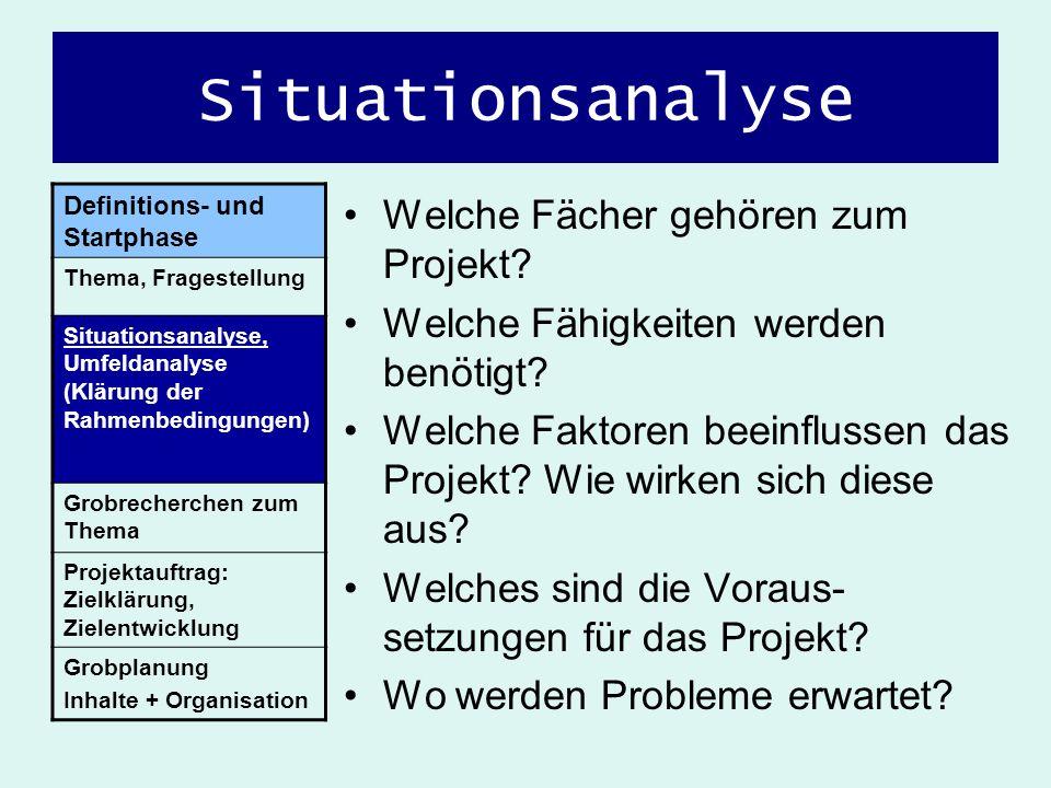 Situationsanalyse Welche Fächer gehören zum Projekt