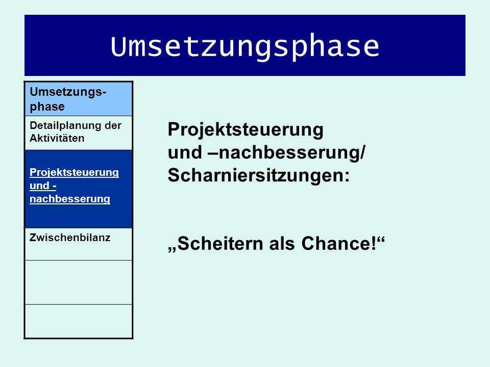Umsetzungsphase Umsetzungs-phase. Detailplanung der Aktivitäten. Projektsteuerung und -nachbesserung.