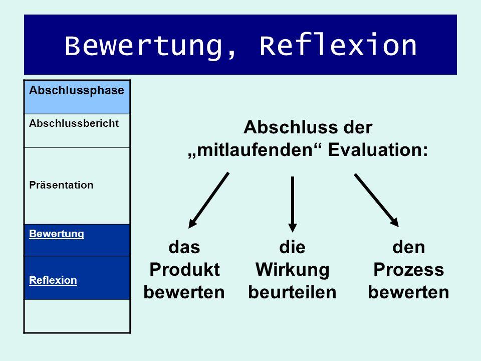 """Abschluss der """"mitlaufenden Evaluation: die Wirkung beurteilen"""