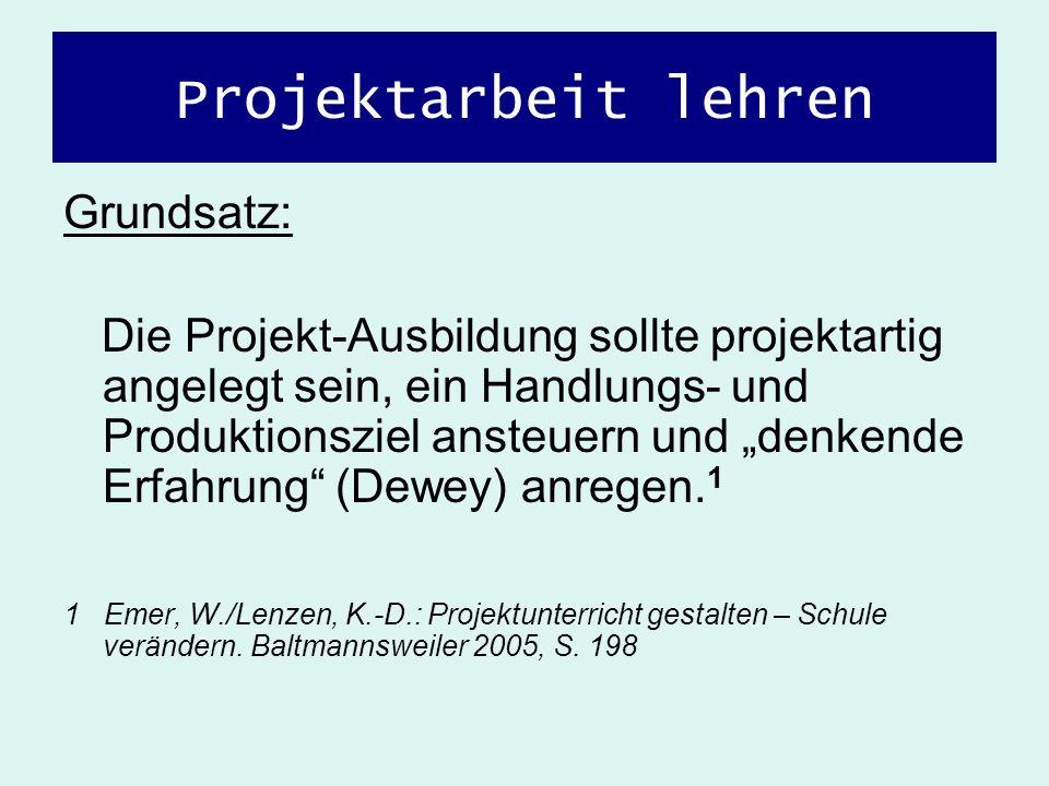 Projektarbeit lehren Grundsatz: