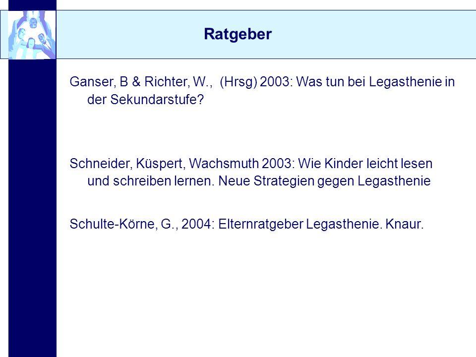 Ratgeber Ganser, B & Richter, W., (Hrsg) 2003: Was tun bei Legasthenie in der Sekundarstufe