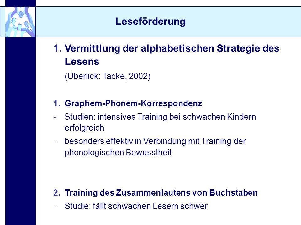 Vermittlung der alphabetischen Strategie des Lesens