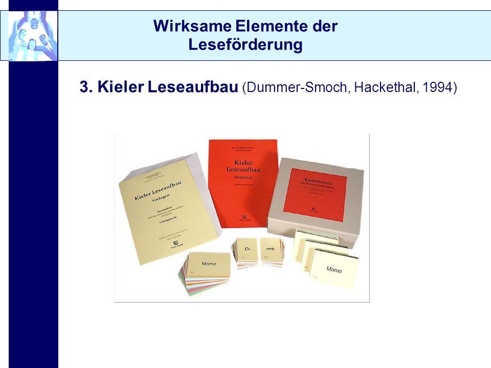 Wirksame Elemente der Leseförderung 3. Kieler Leseaufbau (Dummer-Smoch, Hackethal, 1994)