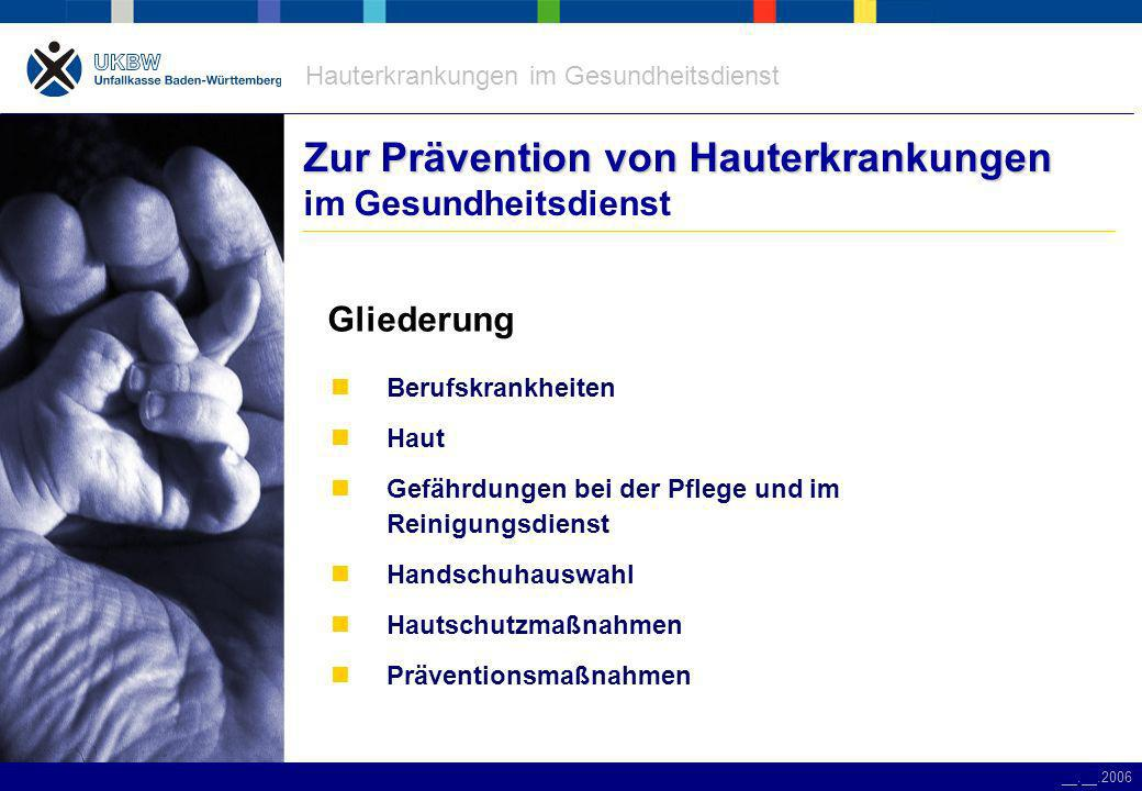 Zur Prävention von Hauterkrankungen im Gesundheitsdienst