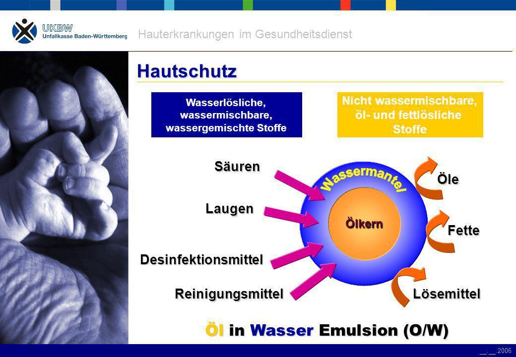 Hautschutz Öl in Wasser Emulsion (O/W) Säuren Öle Laugen Fette