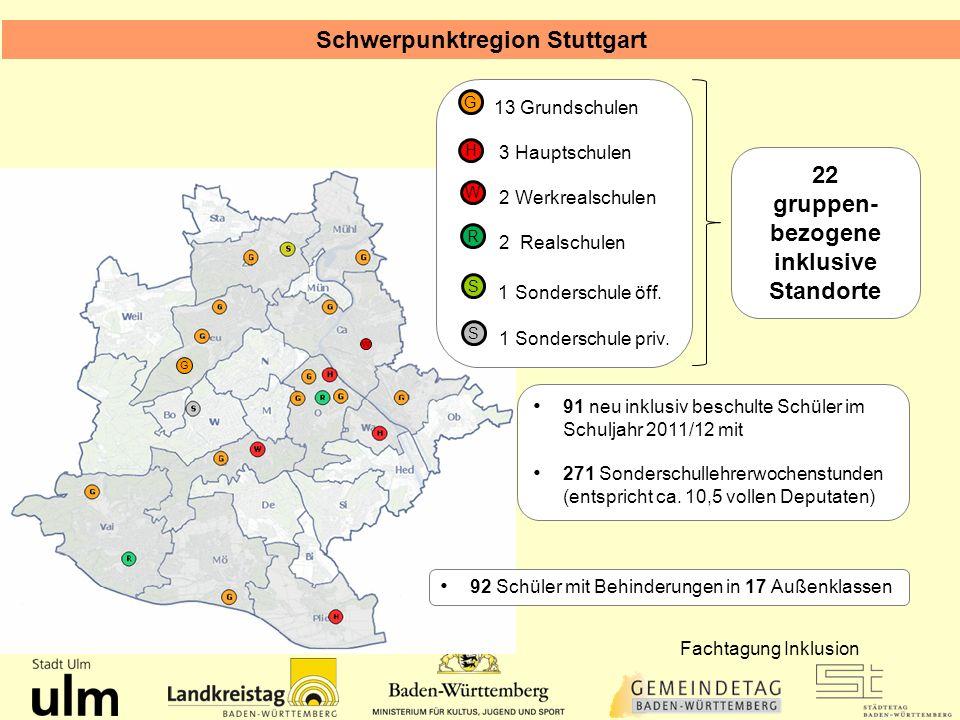 Schwerpunktregion Stuttgart gruppen-bezogene inklusive Standorte