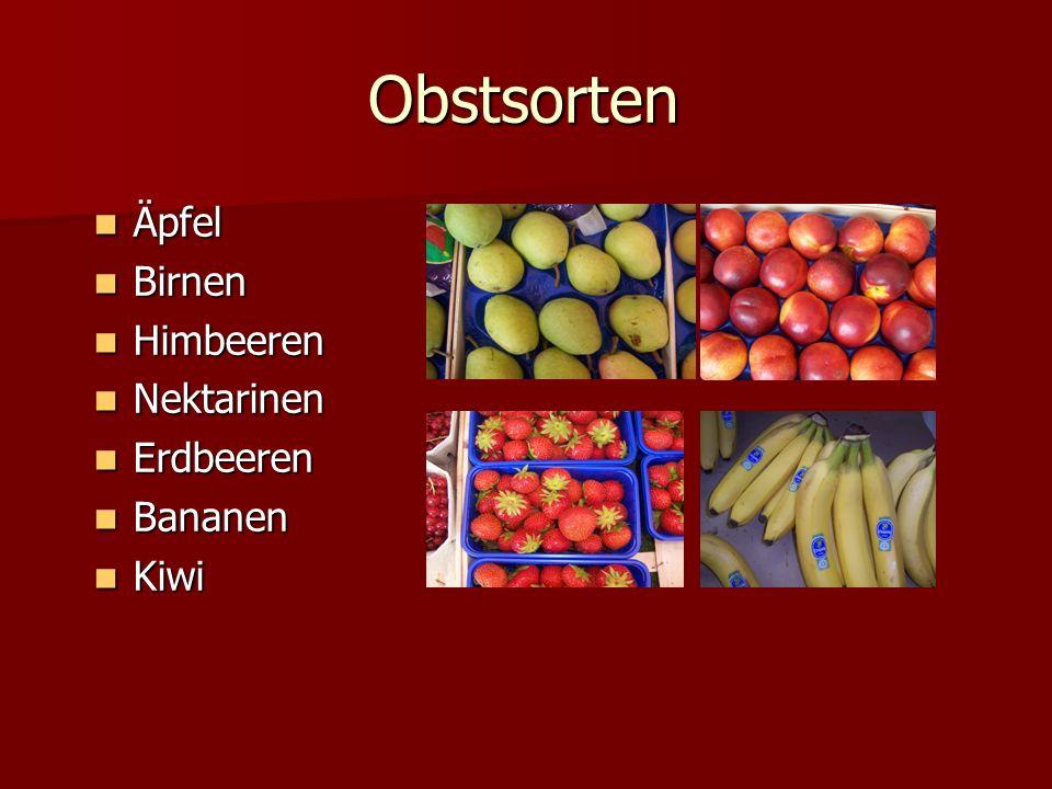 Obstsorten Äpfel Birnen Himbeeren Nektarinen Erdbeeren Bananen Kiwi