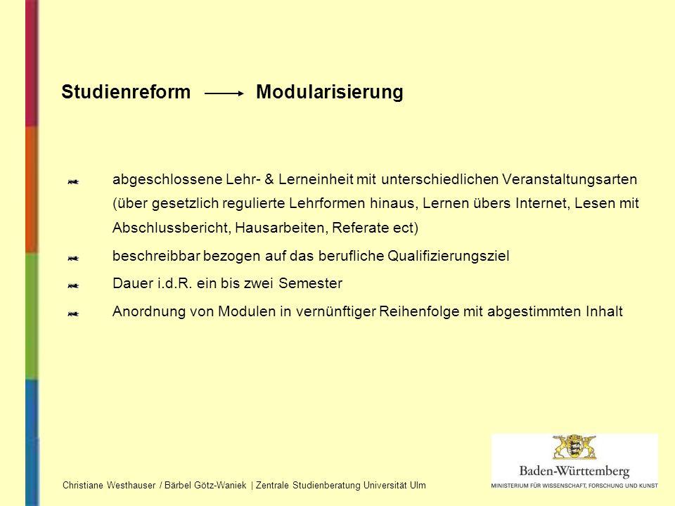 Studienreform Modularisierung