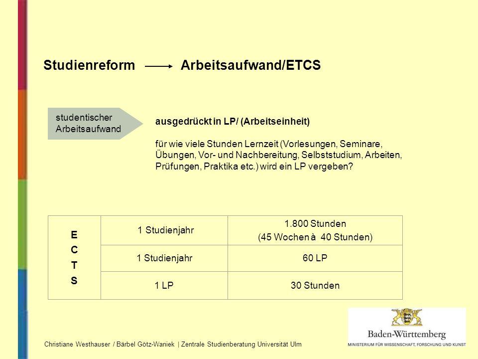 Studienreform Arbeitsaufwand/ETCS