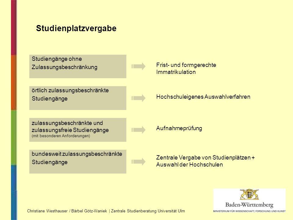 Studienplatzvergabe Studiengänge ohne Zulassungsbeschränkung