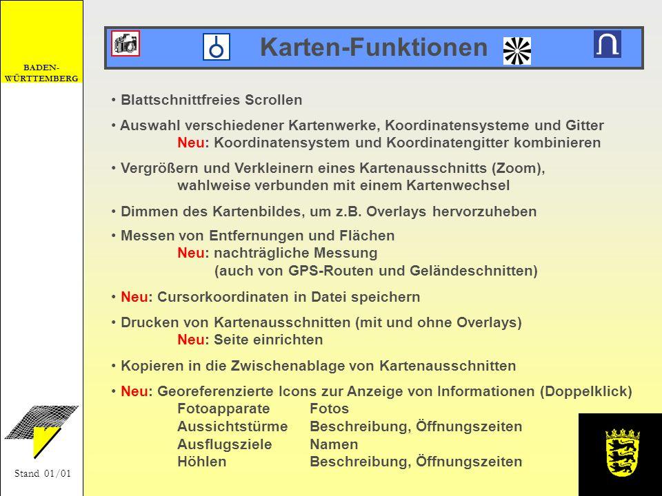 Karten-Funktionen Blattschnittfreies Scrollen