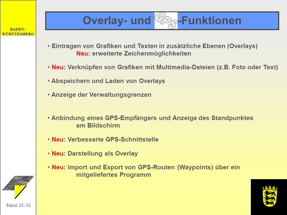 Overlay- und GPS-Funktionen