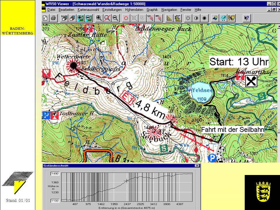 Zeichnen einer Wanderroute und Berechnen des Geländeschnitts