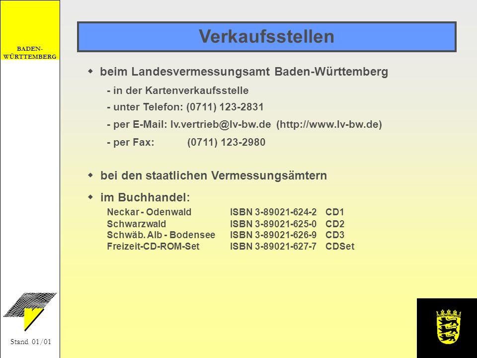 Verkaufsstellen beim Landesvermessungsamt Baden-Württemberg