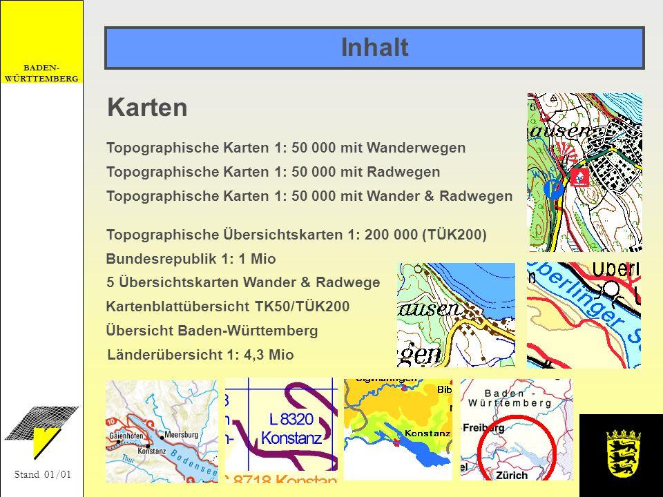 Inhalt Karten Topographische Karten 1: 50 000 mit Wanderwegen