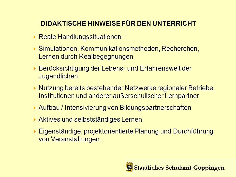 DIDAKTISCHE HINWEISE FÜR DEN UNTERRICHT