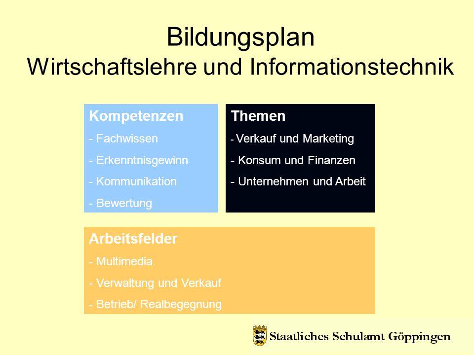 Bildungsplan Wirtschaftslehre und Informationstechnik