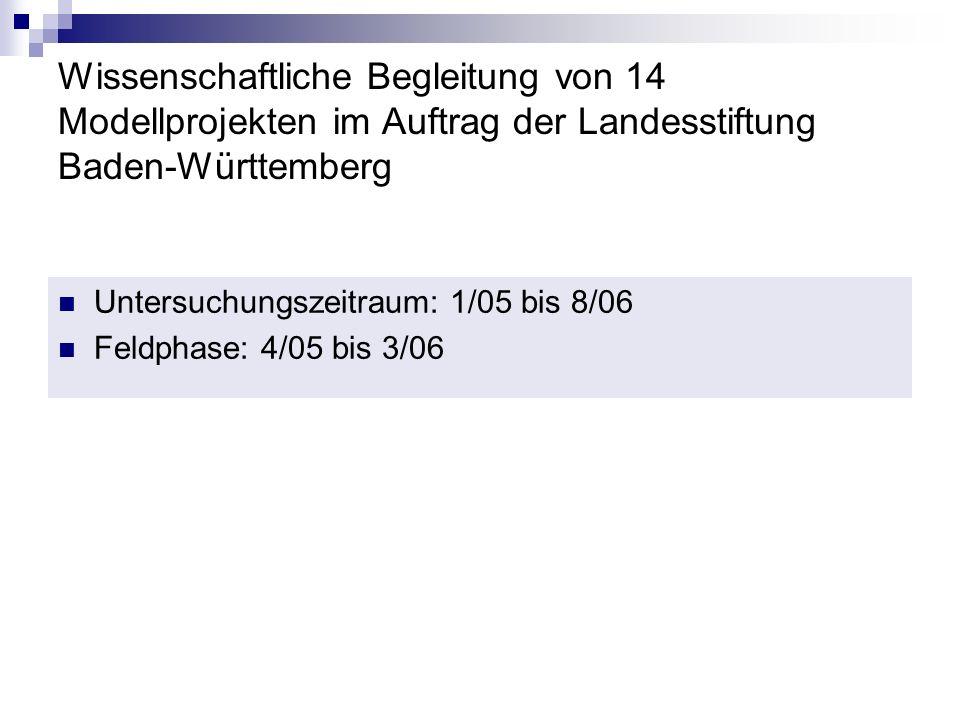 Wissenschaftliche Begleitung von 14 Modellprojekten im Auftrag der Landesstiftung Baden-Württemberg