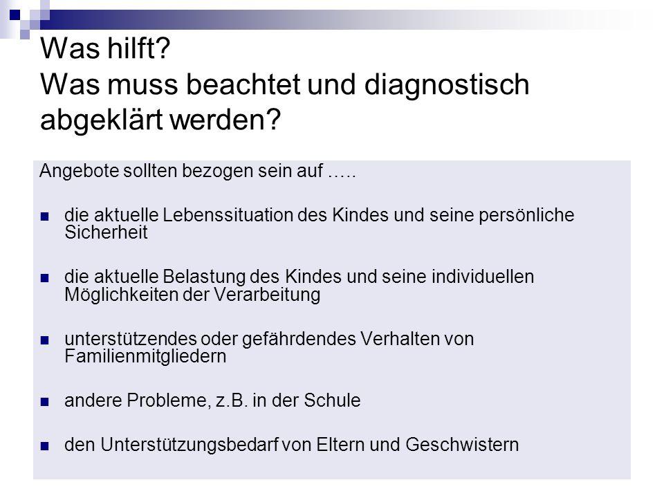 Was hilft Was muss beachtet und diagnostisch abgeklärt werden