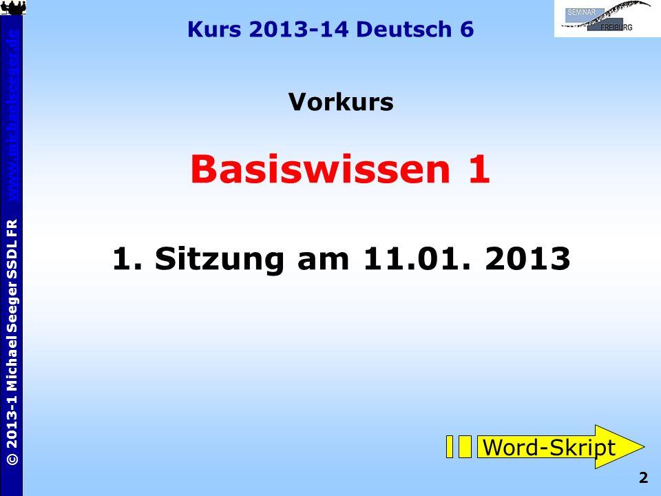Basiswissen 1 1. Sitzung am 11.01. 2013 Vorkurs Word-Skript
