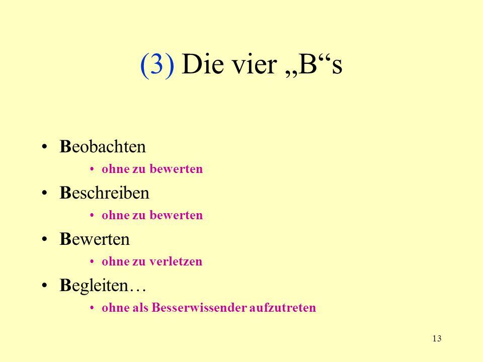"""(3) Die vier """"B s Beobachten Beschreiben Bewerten Begleiten…"""