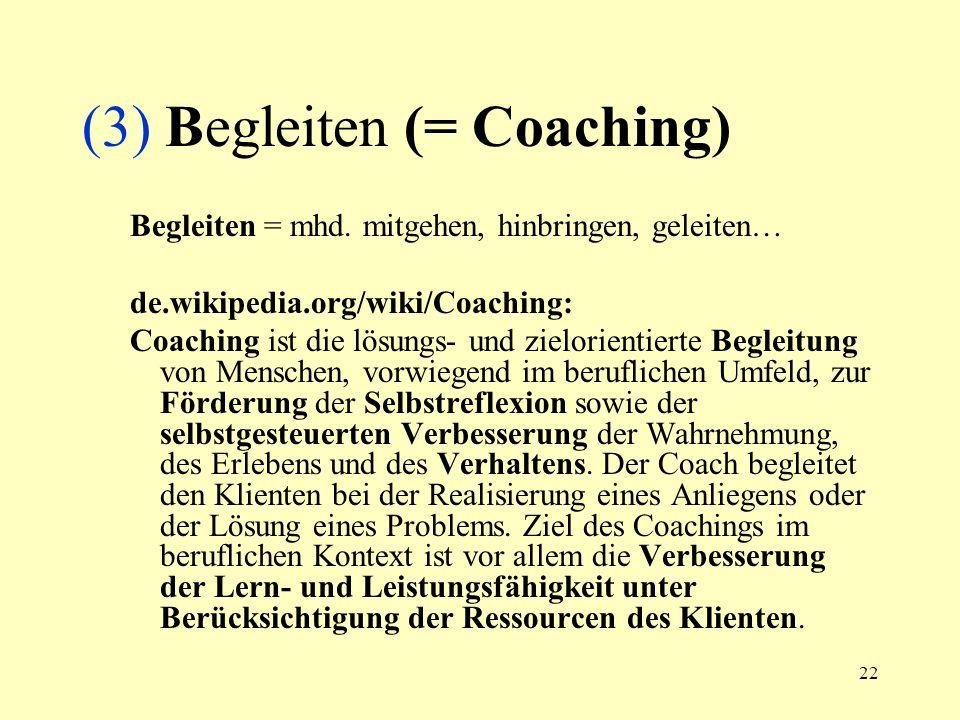(3) Begleiten (= Coaching)