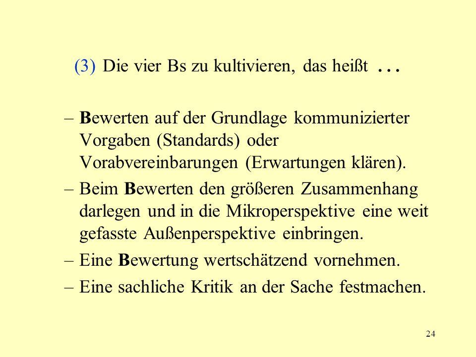(3) Die vier Bs zu kultivieren, das heißt …