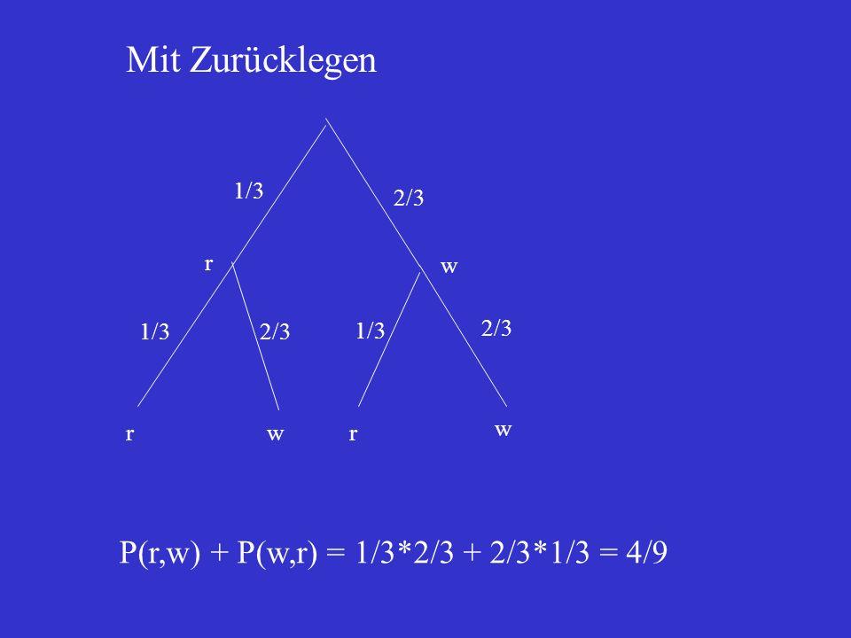 Mit Zurücklegen P(r,w) + P(w,r) = 1/3*2/3 + 2/3*1/3 = 4/9 1/3 2/3 r w
