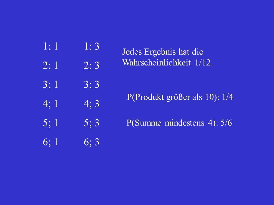 1; 1 2; 1. 3; 1. 4; 1. 5; 1. 6; 1. 1; 3. 2; 3. 3; 3. 4; 3. 5; 3. 6; 3. Jedes Ergebnis hat die Wahrscheinlichkeit 1/12.