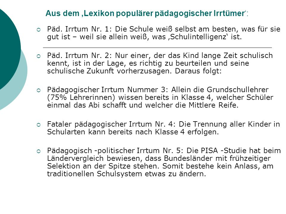 Aus dem 'Lexikon populärer pädagogischer Irrtümer':