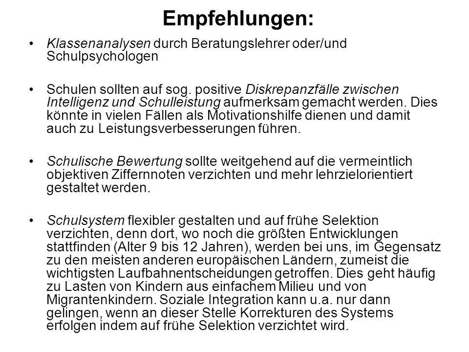 Empfehlungen: Klassenanalysen durch Beratungslehrer oder/und Schulpsychologen.