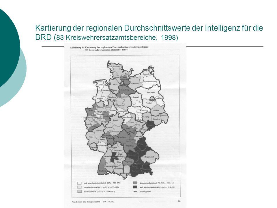 Kartierung der regionalen Durchschnittswerte der Intelligenz für die BRD (83 Kreiswehrersatzamtsbereiche, 1998)
