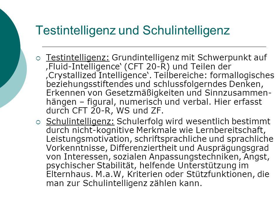 Testintelligenz und Schulintelligenz