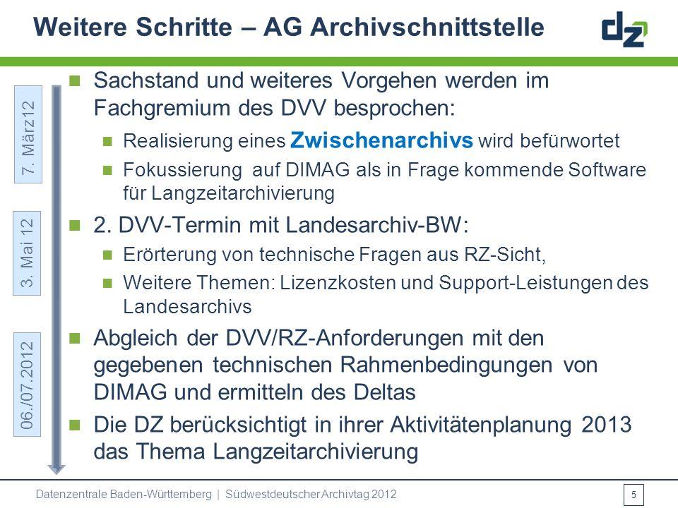 Weitere Schritte – AG Archivschnittstelle