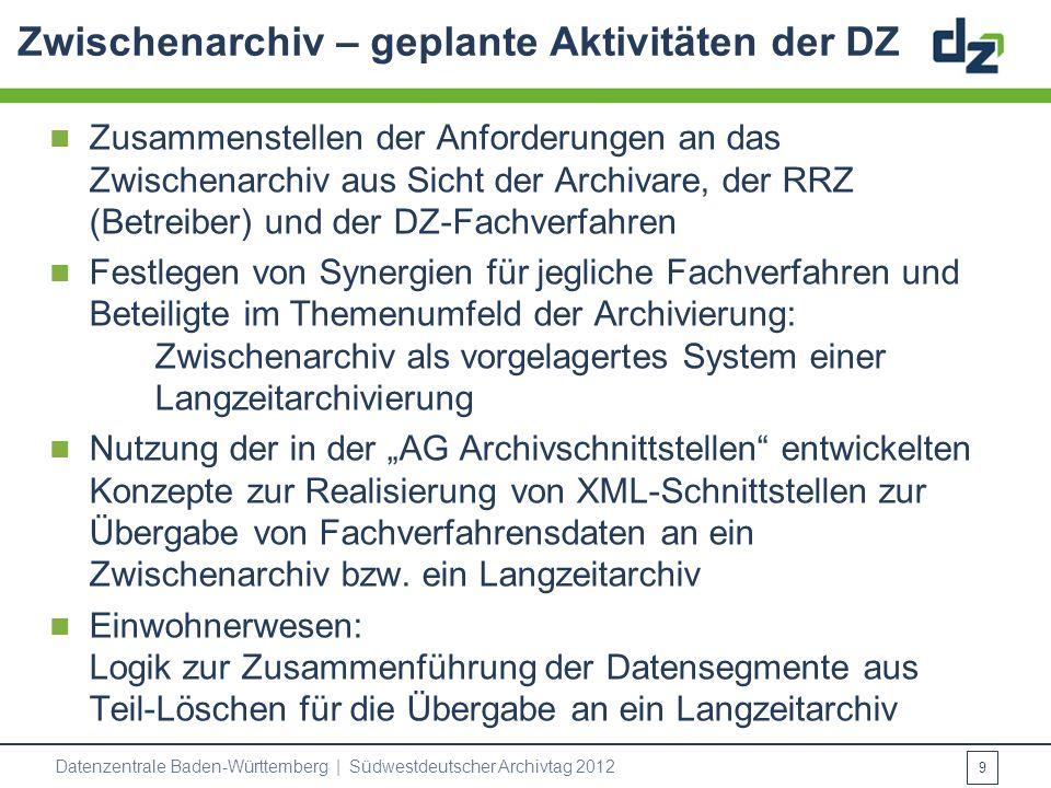 Zwischenarchiv – geplante Aktivitäten der DZ