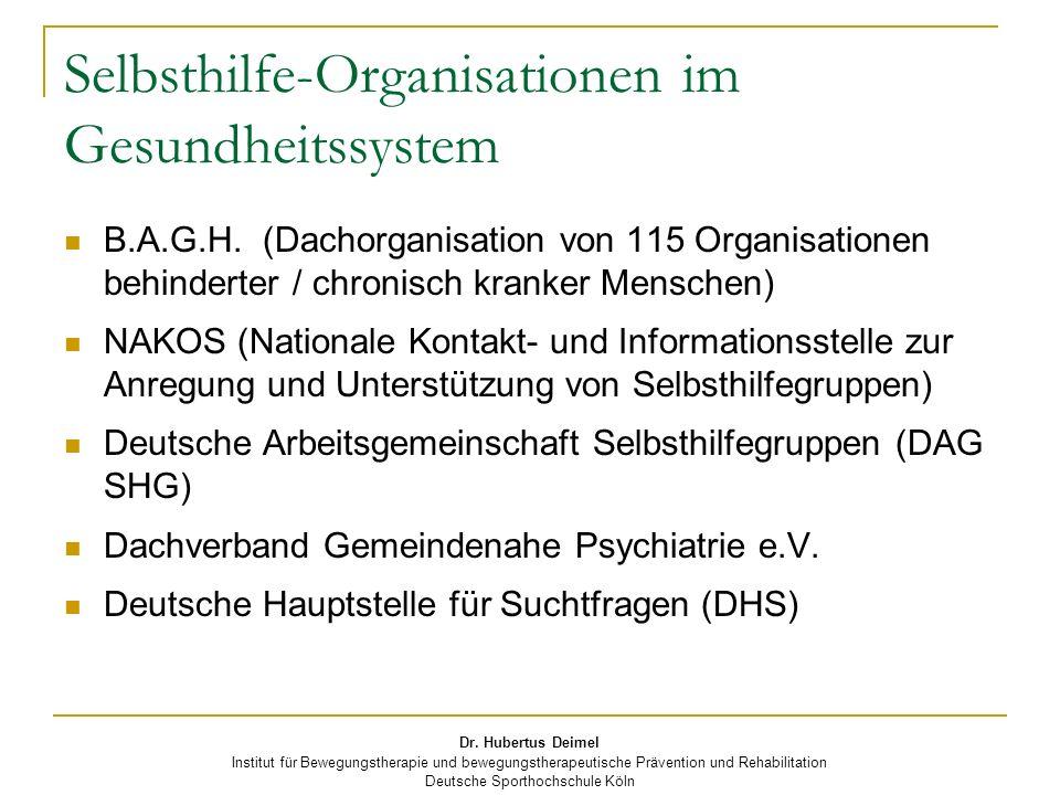 Selbsthilfe-Organisationen im Gesundheitssystem