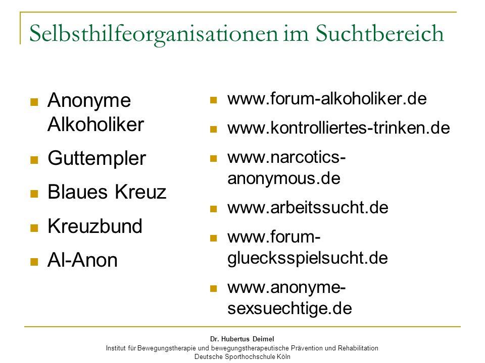 Selbsthilfeorganisationen im Suchtbereich