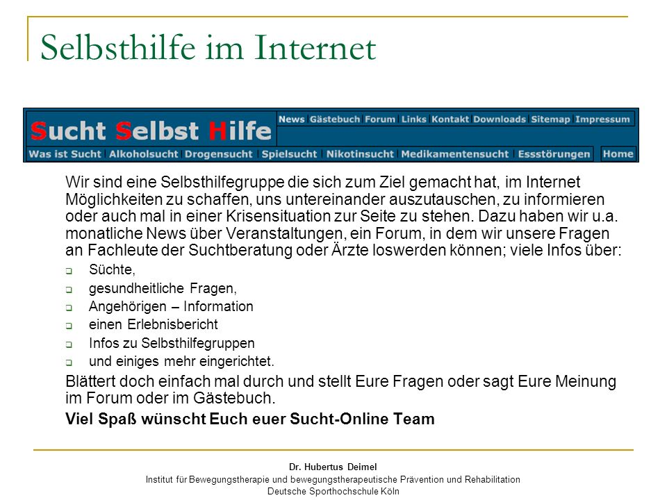 Selbsthilfe im Internet