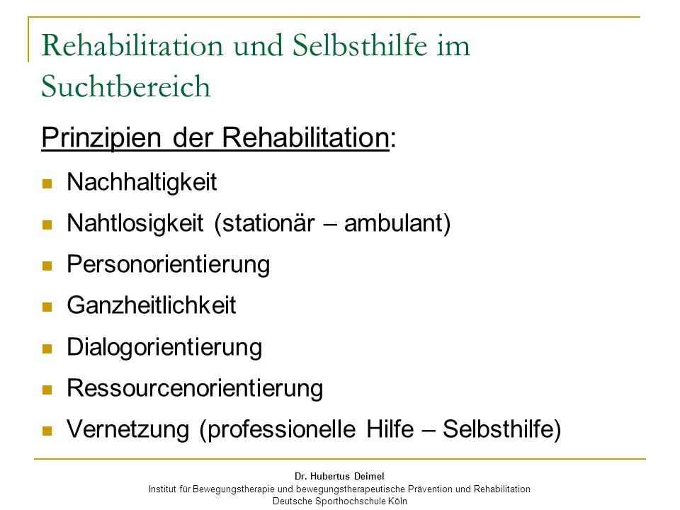 Rehabilitation und Selbsthilfe im Suchtbereich