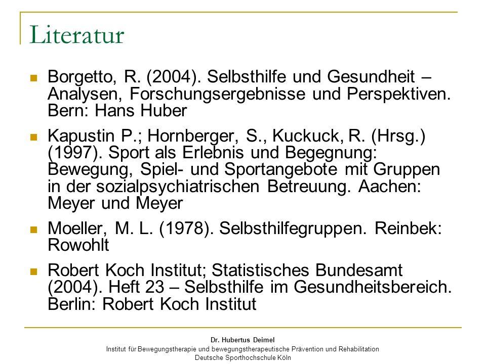 LiteraturBorgetto, R. (2004). Selbsthilfe und Gesundheit – Analysen, Forschungsergebnisse und Perspektiven. Bern: Hans Huber.