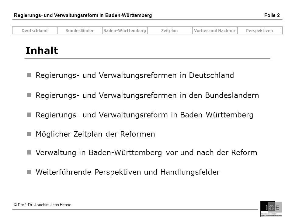 Inhalt Regierungs- und Verwaltungsreformen in Deutschland