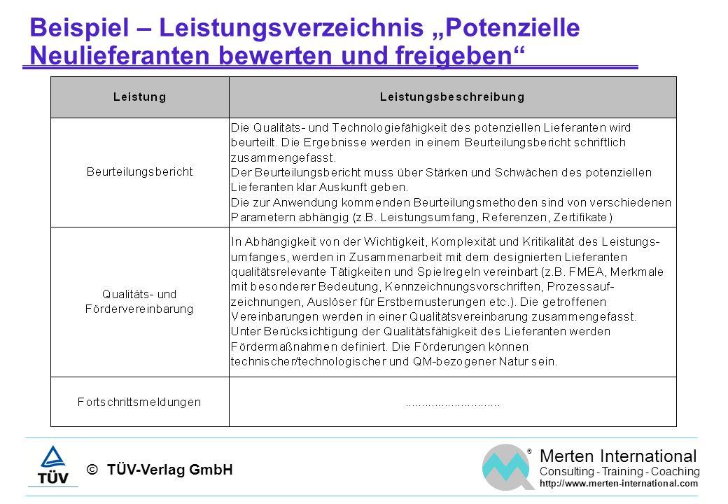 """Beispiel – Leistungsverzeichnis """"Potenzielle Neulieferanten bewerten und freigeben"""
